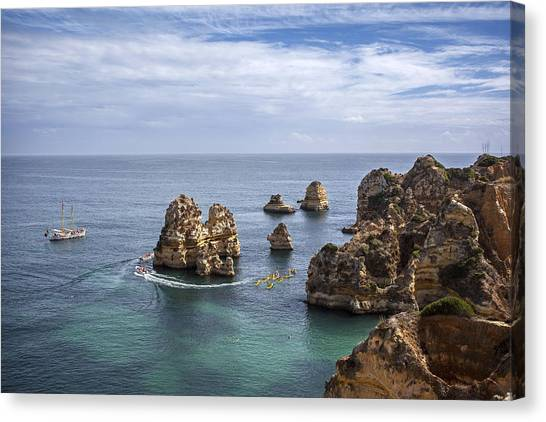 Canvas Print featuring the photograph The Coastline Of Lagos Algarve Portugal by Georgi Djadjarov