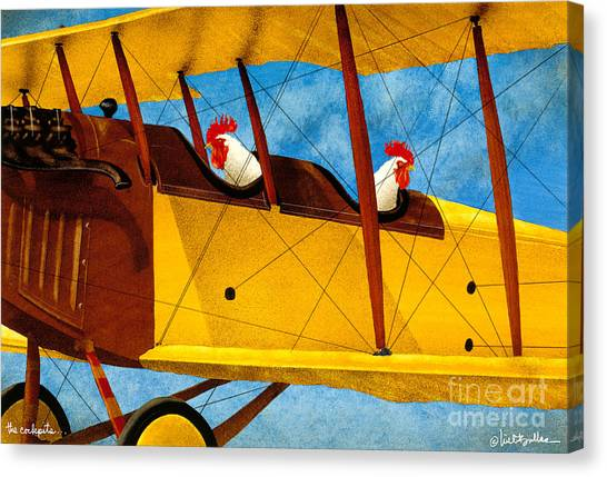Biplane Canvas Print - The Cockpits... by Will Bullas