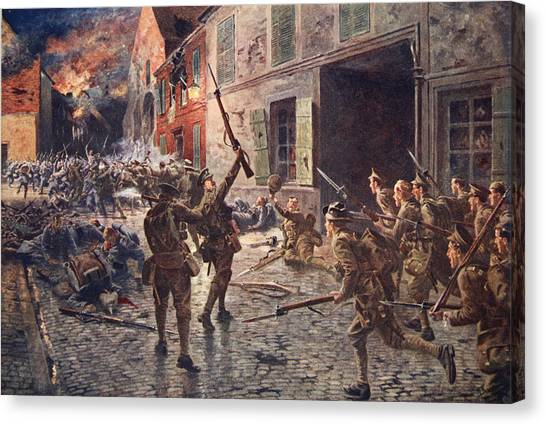 Wreckage Canvas Print - The Coldstream Guards At Landrecies by William Barnes Wollen