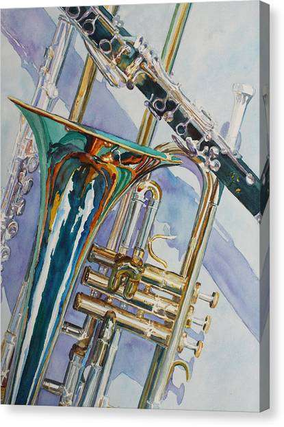 Trombones Canvas Print - The Color Of Music by Jenny Armitage