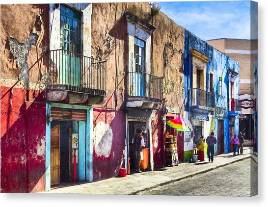Canvas Print featuring the photograph The Colorful Streets Of Puebla Mexico by Mark E Tisdale
