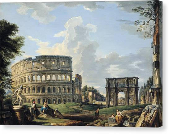 The Colosseum Canvas Print - The Colosseum And The Arch Of Constantine by Giovanni Paolo Panini