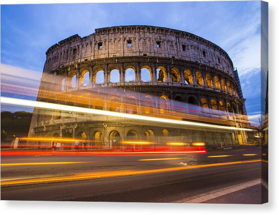 The Colosseum Canvas Print - The Colosseum-blue Hour by Mircea Costina Photography