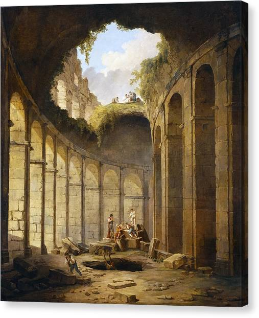 The Colosseum Canvas Print - The Colosseum In Rome by Hubert Robert