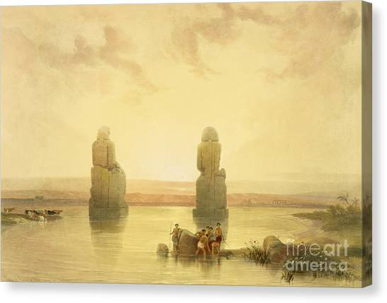 Egyptian Art Canvas Print - The Colossi Of Memnon by David Roberts
