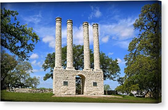 Texas Christian University Canvas Print - The Columns Of Old Baylor At Independence -- 4 by Stephen Stookey