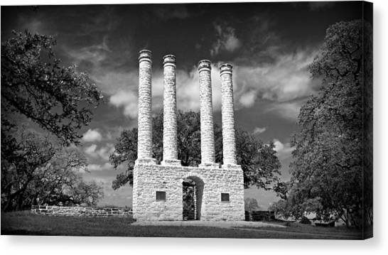 Texas Christian University Canvas Print - The Columns Of Old Baylor At Independence by Stephen Stookey