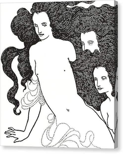 Long Hair Canvas Print - The Comedy Of The Rhinegold by Aubrey Beardsley