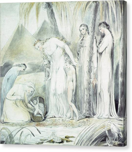 Old Testament Canvas Print - The Compassion Of Pharaohs Daughter Or The Finding Of Moses by William Blake