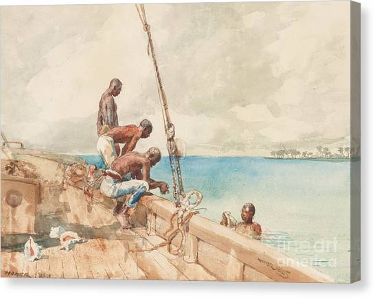 Winslow Canvas Print - The Conch Divers by Winslow Homer
