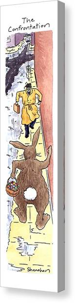 Easter Bunny Canvas Print - The Confrontation by Danny Shanahan
