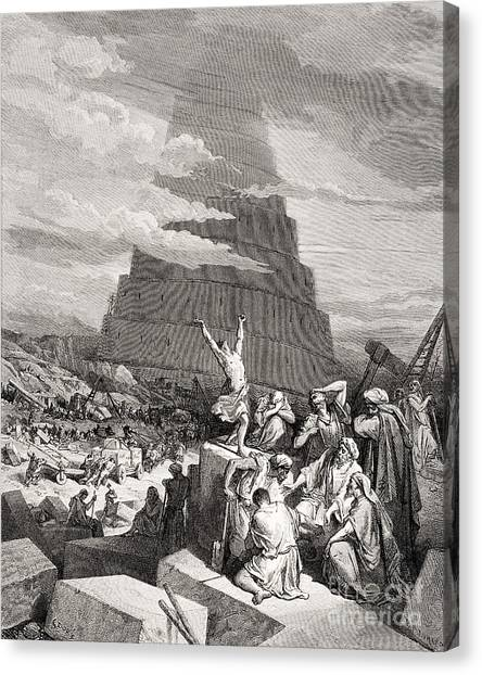 Holy Bible Canvas Print - The Confusion Of Tongues by Gustave Dore