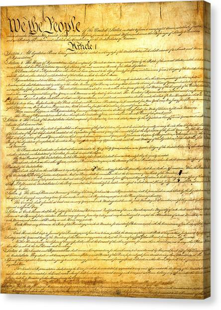 Rights Canvas Print - The Constitution Of The United States Of America by Design Turnpike