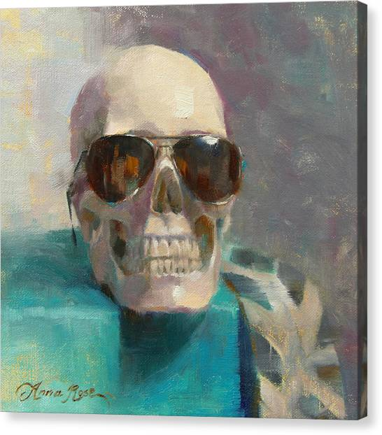 Skull Canvas Print - The Cool Kid by Anna Rose Bain