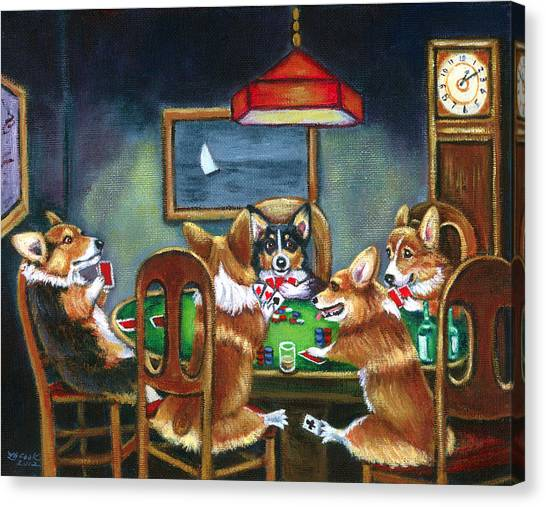 Humorous Canvas Print - The Corgi Poker Game by Lyn Cook