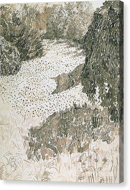 Pen And Ink Drawing Canvas Print - The Corner Of The Park by Vincent van Gogh