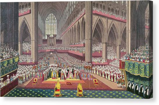 Westminster Abbey Canvas Print - The Coronation Of King William Iv And Queen Adelaide, 1831 Colour Litho by English School