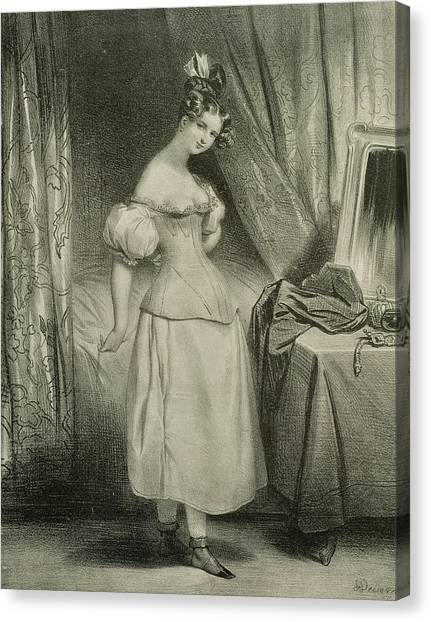 Fashion Plate Canvas Print - The Corset by Achille Deveria