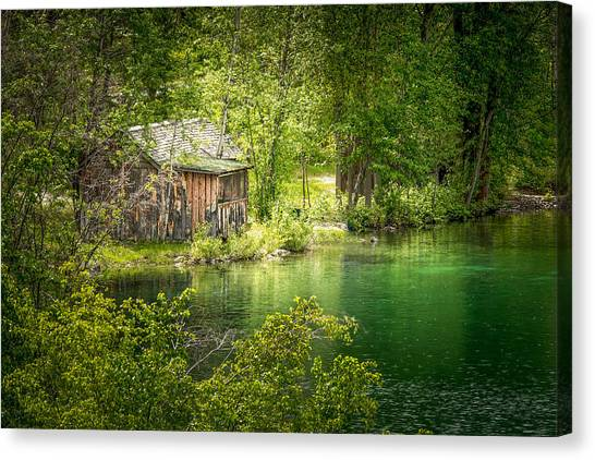 The Cottage By The Lake Canvas Print