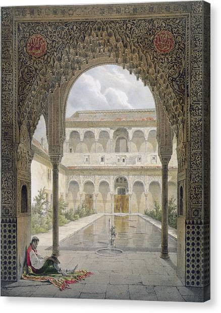 Moorish Canvas Print - The Court Of The Alberca by Leon Auguste Asselineau