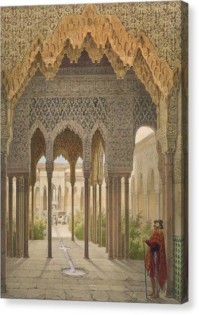 Moorish Canvas Print - The Court Of The Lions by Leon Auguste Asselineau