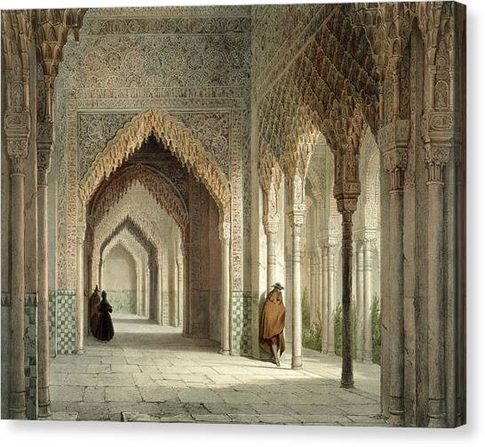 Stalactites Canvas Print - The Court Room Of The Alhambra by Leon Auguste Asselineau
