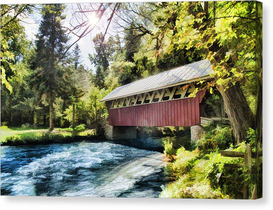 The Covered Bridge At The Red Mill Canvas Print