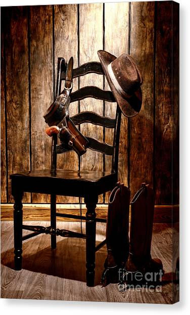 Cowboy Boots Canvas Print - The Cowboy Chair by Olivier Le Queinec