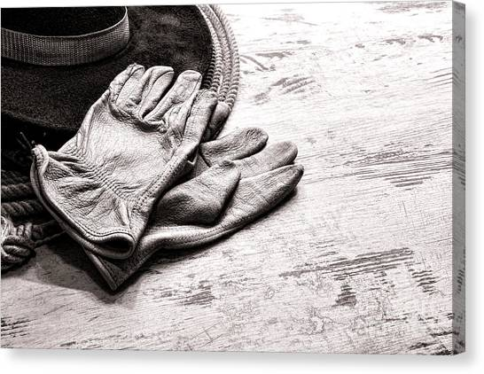 Lassos Canvas Print - The Cowboy Gloves by Olivier Le Queinec