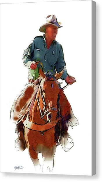Southwest Canvas Print - The Cowboy by Randy Follis