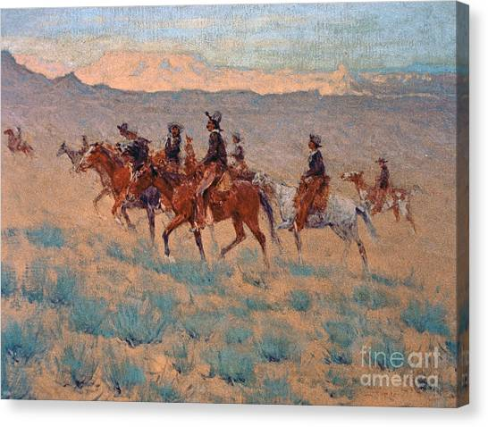 Prairie Sunrises Canvas Print - The Cowpunchers by Frederic Remington