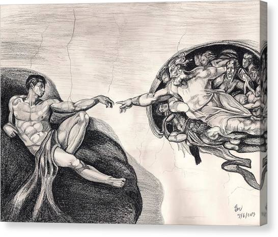 The Creation Of Adam A Redraw Canvas Print by Beverly Marshall