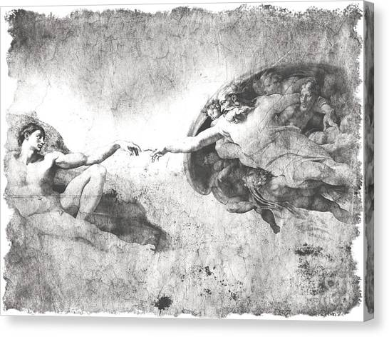 The Vatican Museum Canvas Print - The Creation Of Adam by Stefano Senise
