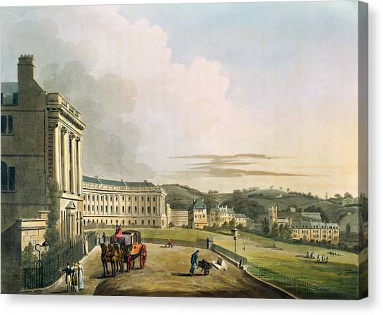 Landscape Canvas Print - The Crescent, From Bath Illustrated by John Claude Nattes