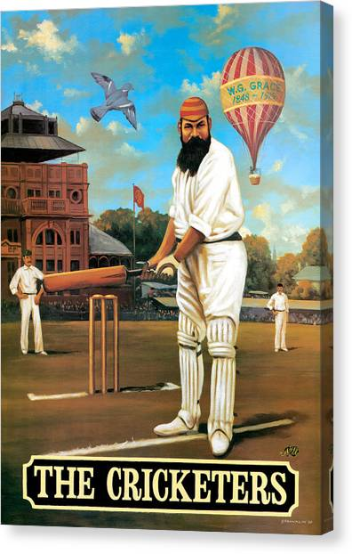 Cricket Canvas Print - The Cricketers by Peter Green