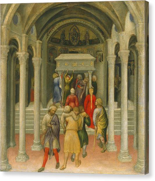 Pilgrims Canvas Print - The Crippled And Sick Cured At The Tomb Of Saint Nicholas by Gentile da Fabriano