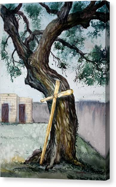 Da216 The Cross And The Tree By Daniel Adams Canvas Print