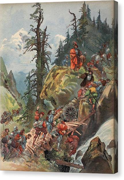 Rulers Canvas Print - The Crossing Of The Alps, Illustration by Albert Robida