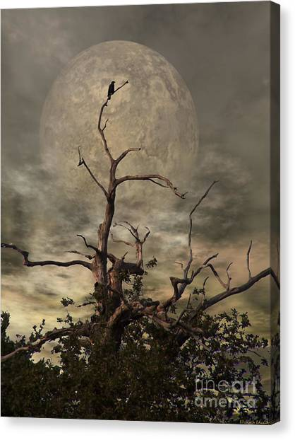 Night Canvas Print - The Crow Tree by Abbie Shores
