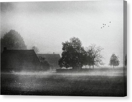 Farm Landscape Canvas Print - The Crowing Of The Rooster by Piet Flour