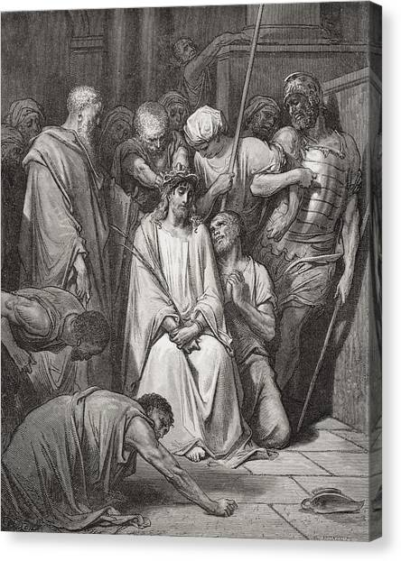 Holy Bible Canvas Print - The Crown Of Thorns by Gustave Dore