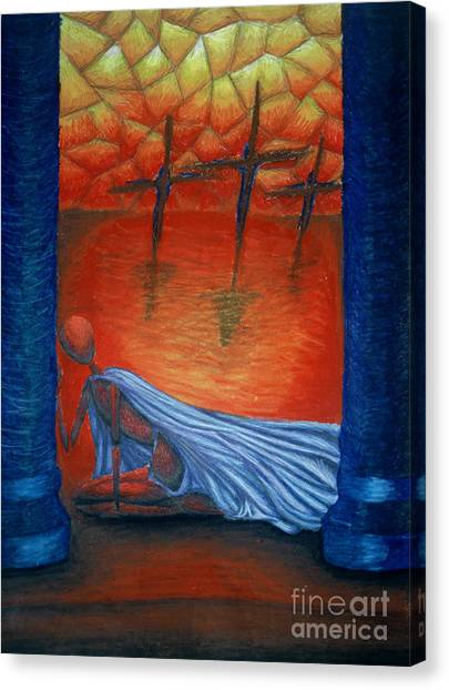The Crucifixion Canvas Print by Coriander  Shea