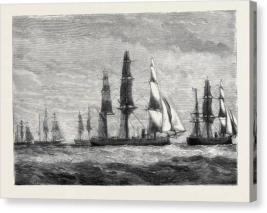 Pacific Division Canvas Print - The Cruise Of The Pacific Squadron by English School