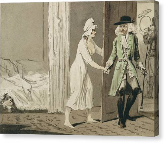 Sly Canvas Print - The Cuckold Departs For The Hunt by Isaac Cruikshank