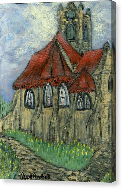 The Curch  Canvas Print by Oscar Penalber
