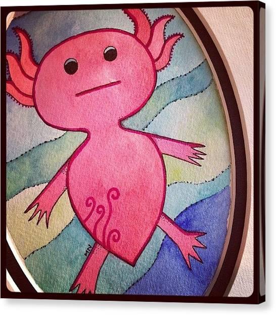 Salamanders Canvas Print - The Curious Axolotl Has External Gills by Megan Smith