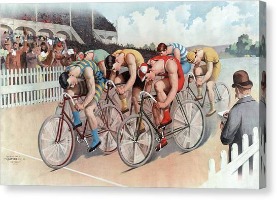 Finish Line Canvas Print - The Cycle Race by American School