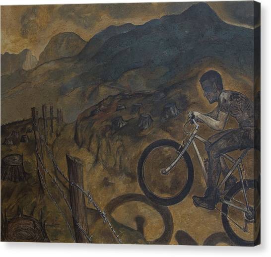 The Cyclist Canvas Print by Fernando Alvarez