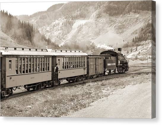 Freight Trains Canvas Print - The D And S Into The Mountains by Mike McGlothlen