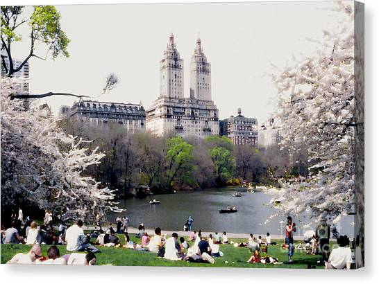 The Dakota From Central Park Canvas Print by Linda  Parker